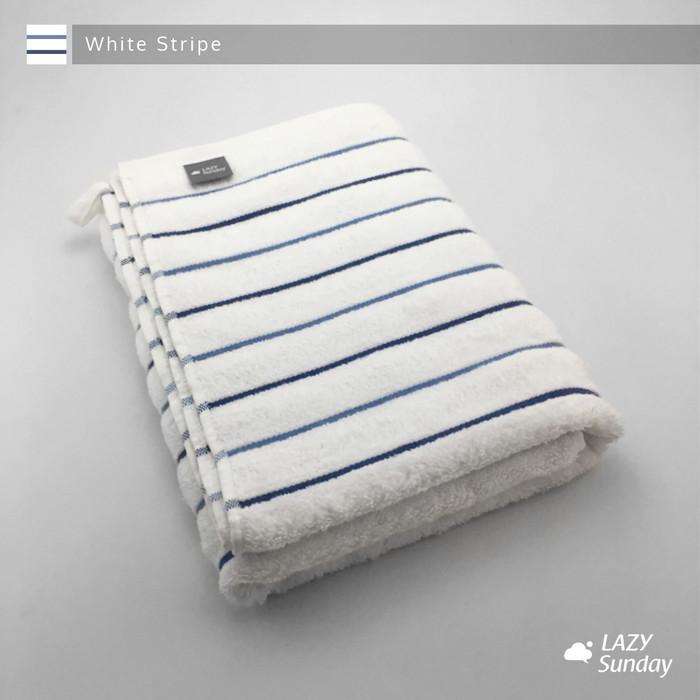 Foto Produk Handuk Mandi Premium LAZY Sunday , EXPORT QUALITY !! - White Stripe dari LAZY Sunday Store