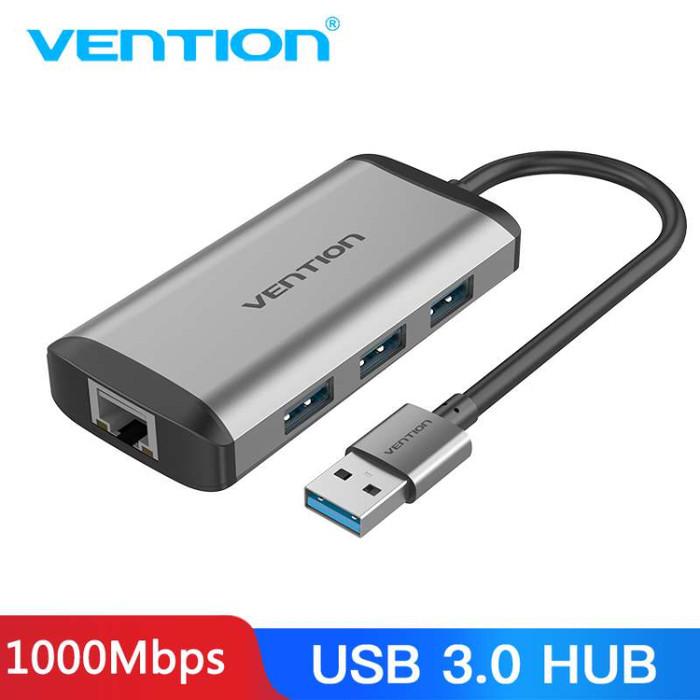 Foto Produk Vention CHD 3 Ports USB 3.0 HUB Pure + Gigabit Ehternet LAN Mac Window - CKB dari SinShe-Tekno
