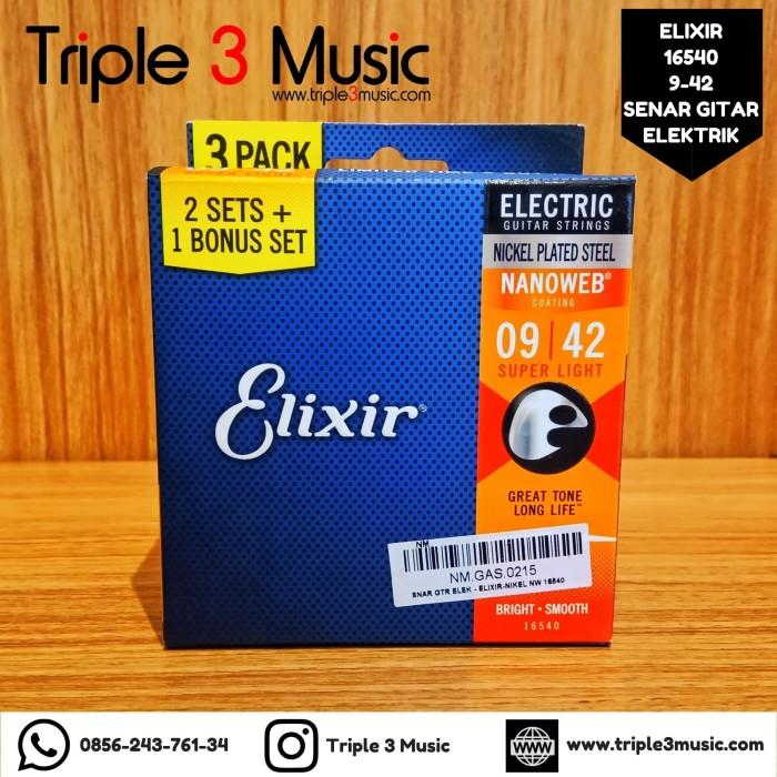 Foto Produk Elixir 16540 3 PACK Bronze Nanoweb 9-42 Senar Gitar Elektrik ORIGINAL dari triple3music