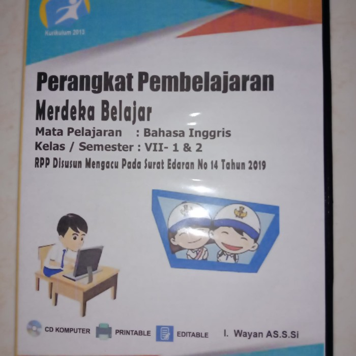 Jual Cd Rpp Perangkat Pembelajaran Merdeka Belajar Bahasa Inggris Kls 7 Jakarta Timur Arrisky Tokopedia