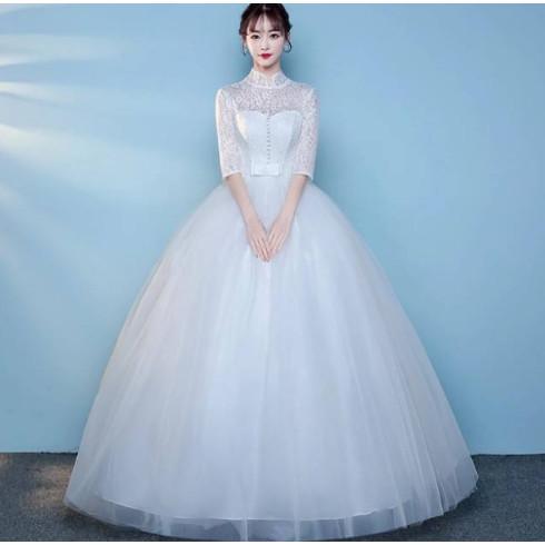 Jual Gaun Pengantin Simple Sweet Large Size Lace Korean Wedding Dress Long Putih S Kab Tangerang Wedding Mart Tokopedia