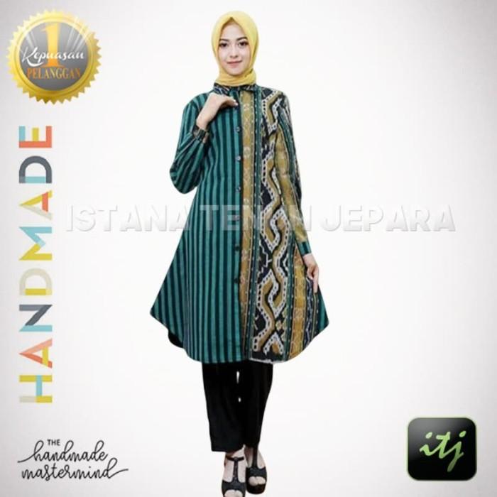 Jual Baju Dress Batik Wanita Tunik Tenun Troso Hijau Motif Toraja Kab Jepara Istana Tenun Jepara Tokopedia