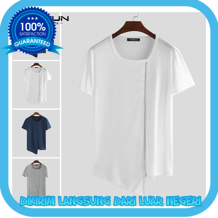 Foto Produk INCERUN Kaos T-Shirt Casual Crew Neck Lengan Pendek dengan Resleting dari Khalid Akbar