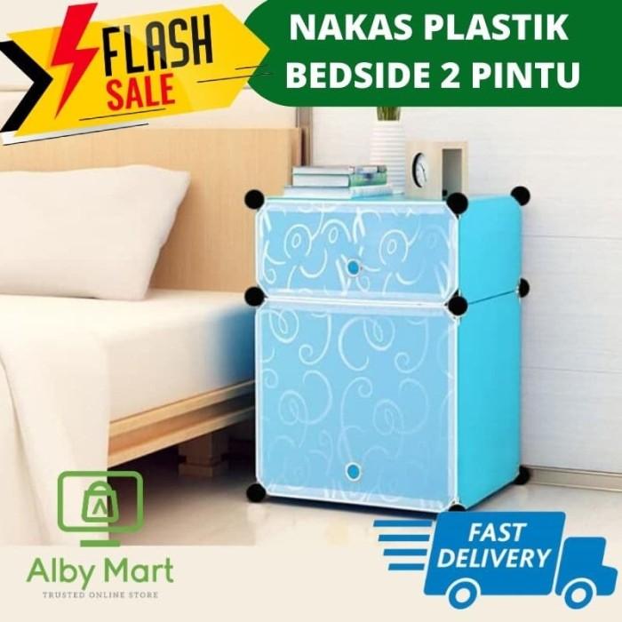 Foto Produk Lemari plastik bedside table anti air rak buku susun 2 pintu nakas - Cat Dog dari cabokimurah