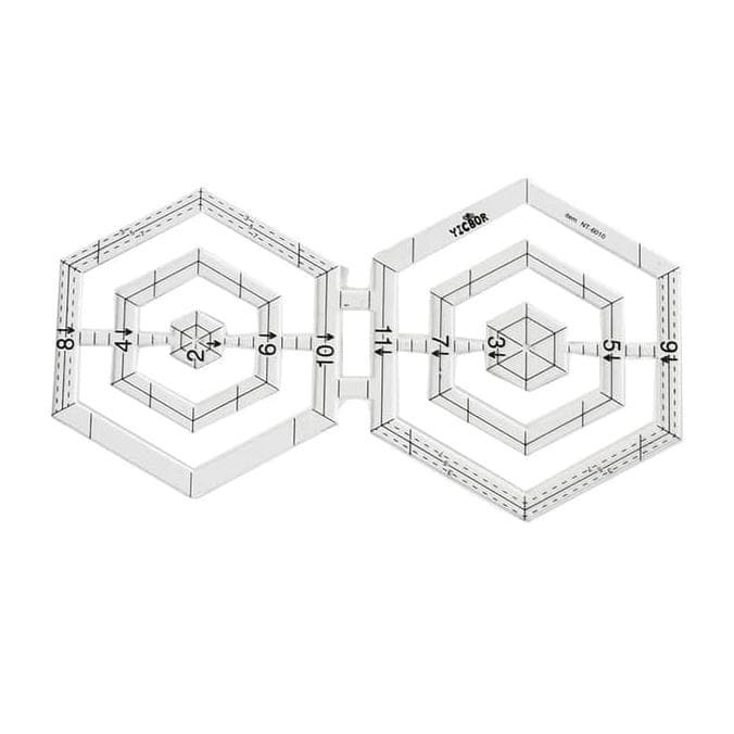 Foto Produk Penggaris Jahit Menjahit - Quilting Ruler - Patchwork Ruler Hexagonal dari toko helmi shop