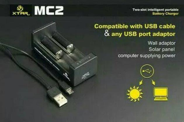 Foto Produk Terpopuler ! Charger / casan cepat XTAR mc2 untuk baterai 18650 vape dari gaudiocio OFFICIAL