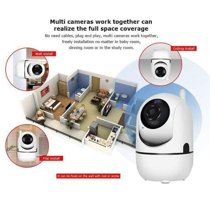 Foto Produk Terpopuler ! Camera CCTV IP Cam Wifi Camera Wireless Portable Mini dari gaudiocio OFFICIAL