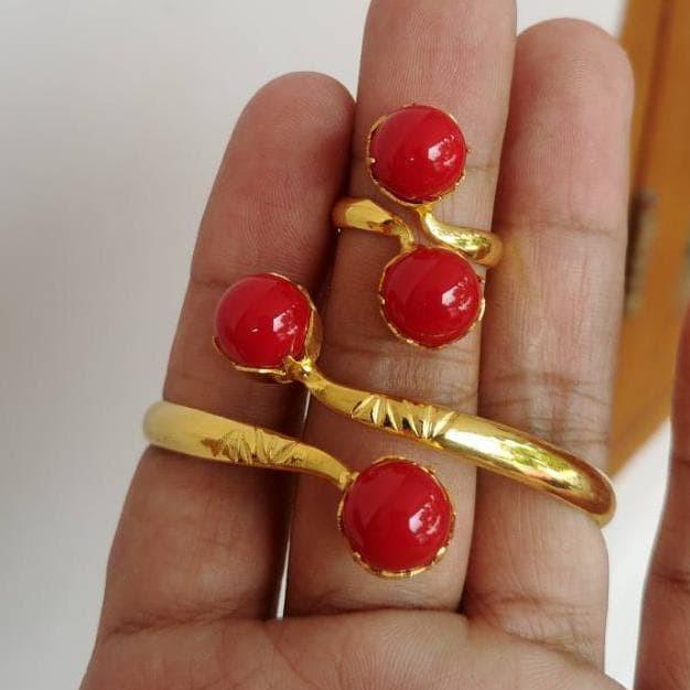 Foto Produk Terpopuler ! Gelang Bangle Set Cincin Mutiara Tinju Lapis Emas Q dari hanindra OLSHOP