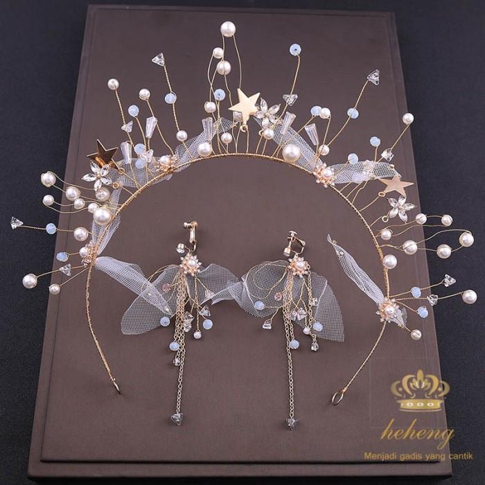 Foto Produk READY Bride Handmade Ornaments Korean Silk Gauze Five Star Hair Band dari Riski shoppe
