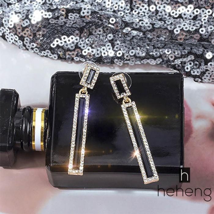 Foto Produk ❤HH-ID Elongated Crystal Drop Earrings Women Trendy 2018 Geometric dari Riski shoppe