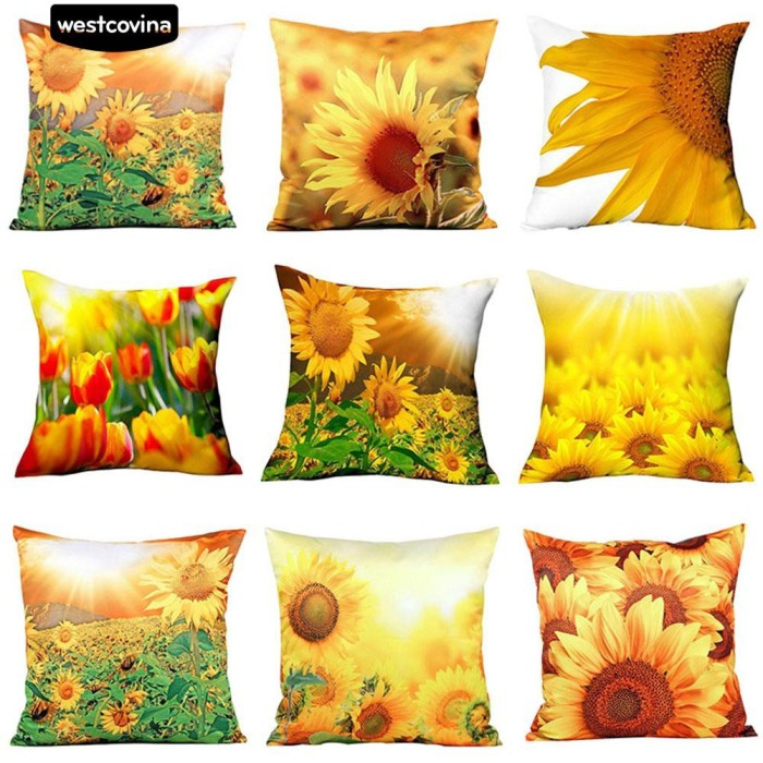 Foto Produk Sarung Bantal Sofa Bahan Katun Linen Motif Bunga Matahari 3D dari Sinarmas17