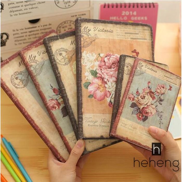 Foto Produk Buku Notebook / Catatan / Agenda / Diary Retro Motif Bunga Bahan dari Riski shoppe