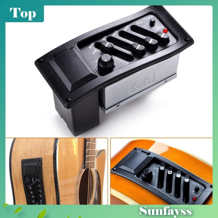 Foto Produk [Sun] Tuner Gitar Akustik 4-Band Equalizer Piezo piup EQ-7545R dari Ravamo Store