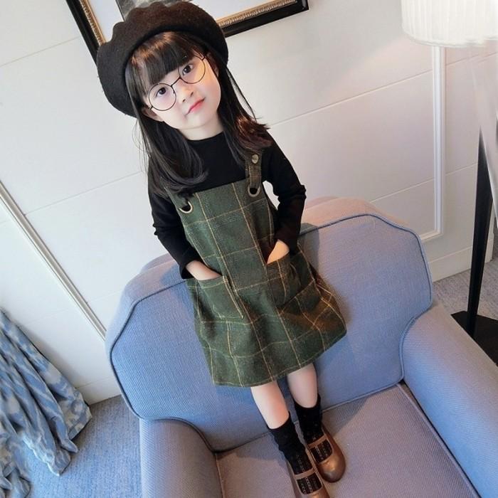 Foto Produk BBWORLD Baby Girls Long Sleeve Tops T-shirt+Plaid Pattern Strap dari queenstore-33