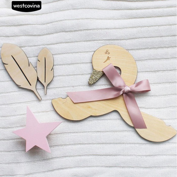 Foto Produk * Swan Ikatan Simpul Gantungan Kayu Kamar Anak-anak Pakaian Rak dari Sinarmas17