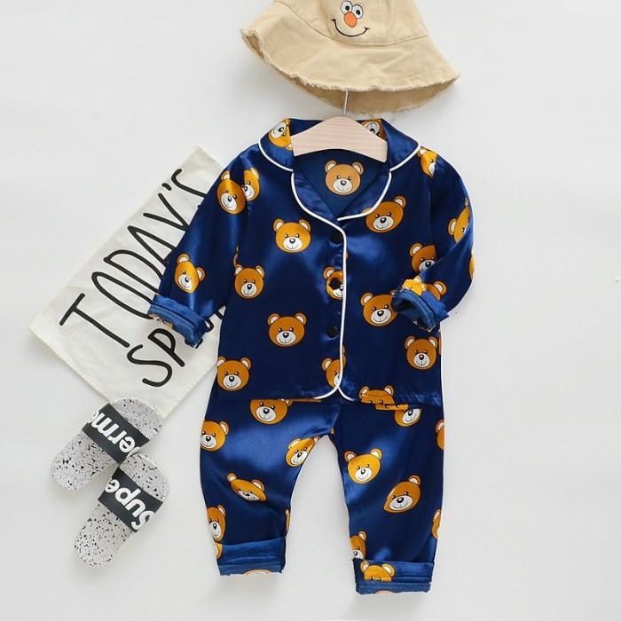Foto Produk BBWORLD Baby Kids Girls Boys Cartoon Print Sleepwear Set Long Sleeve dari queenstore-33