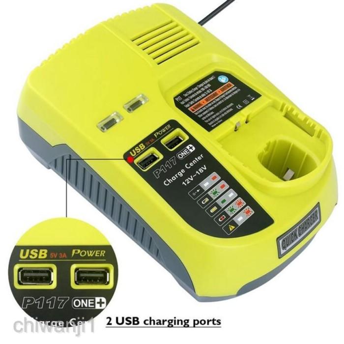 2 USB Port P117 Charger For Ryobi ONE 12V-18V P108 P104 P102 P100 Ni-Cd /& Li-ion