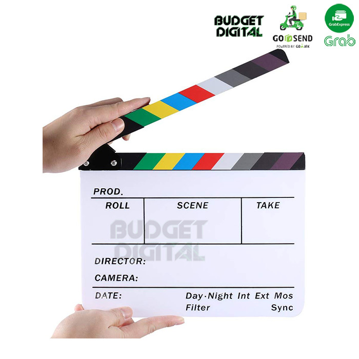 Foto Produk Professional Colorful Clapper Board Acrylic Dry Erase Director Movie dari BudgetDigital