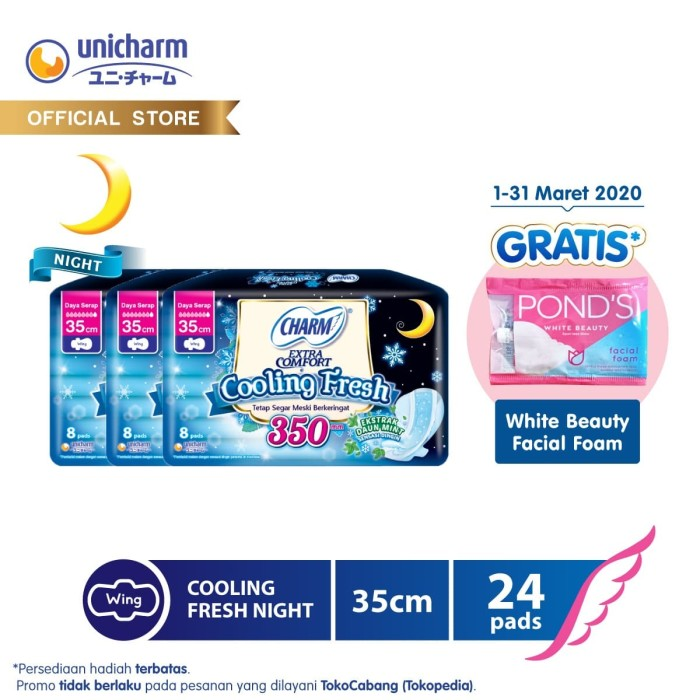 Foto Produk Unicharm X Unilever - Charm Cooling Fresh Night 35cm 8 pads - 3 Packs dari Unicharm Official Store