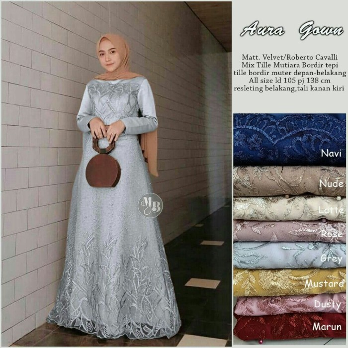 Foto Produk Baju dress gamis wanita velvet mix tille aura gown jumbo ld 120 dari TABASAMA