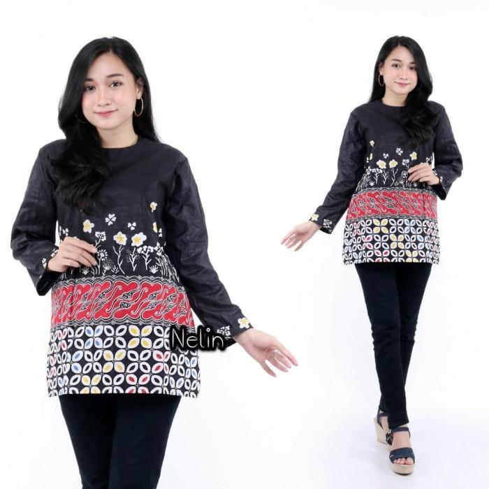Foto Produk Blus Wanita Batik Kerja Batik Kondangan Batik Keren Grosir Murah - Hitam, M dari blouse_batik