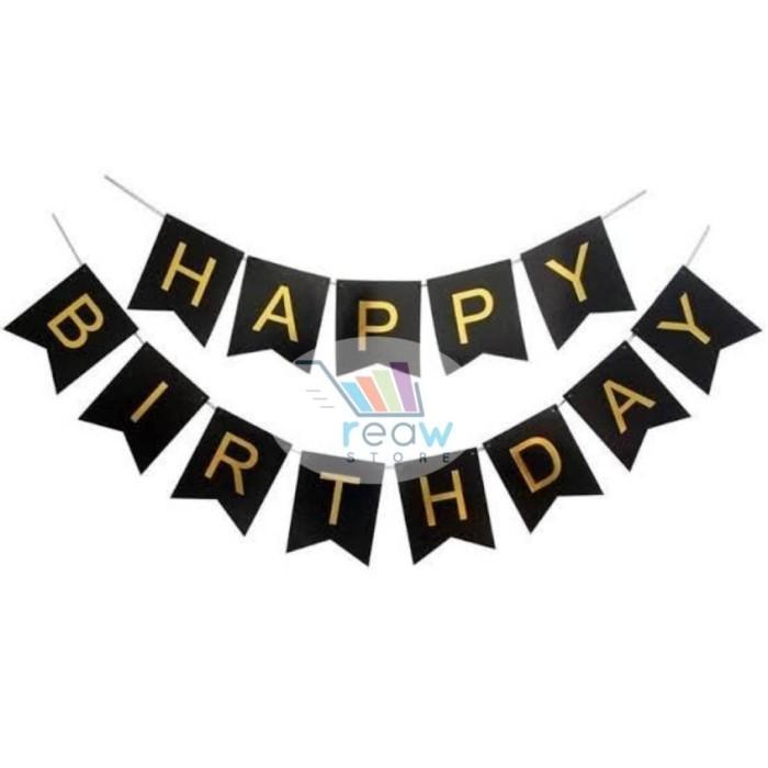 Foto Produk Banner Happy Birthday / Banner Ulang Tahun Hitam Tulisan Gold dari Reaw Store