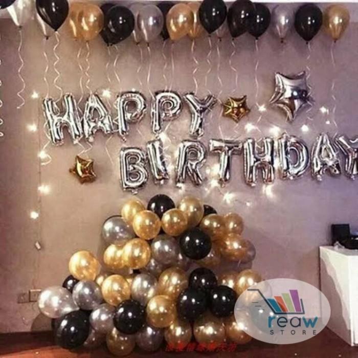 Foto Produk Paket Dekorasi Balon Ulang Tahun / Happy Birthday Silver 03 dari Reaw Store