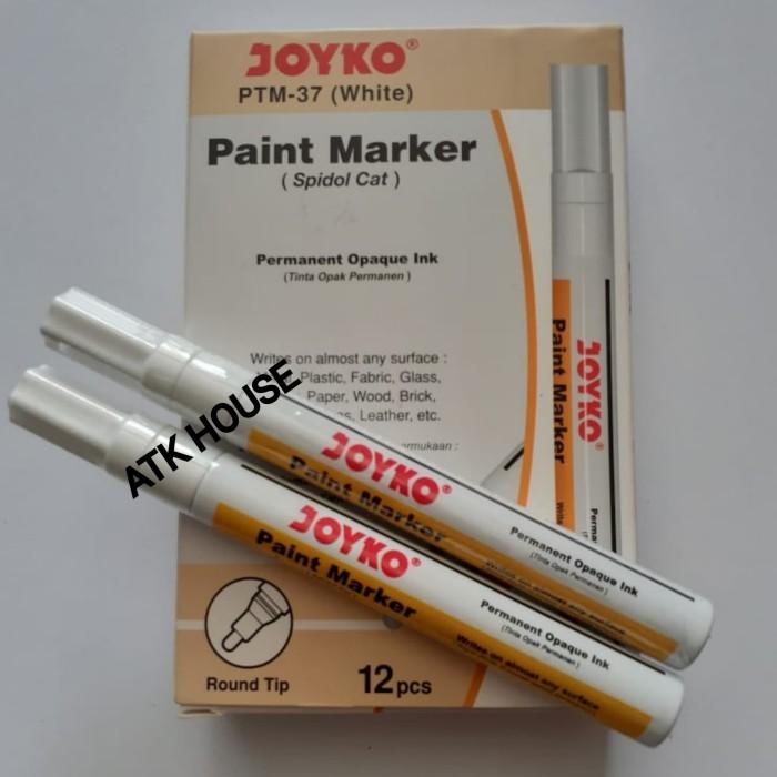 Foto Produk Spidol Paint Permanent Marker White JOYKO PTM37/Spidol Cat Putih White dari ATK HOUSE