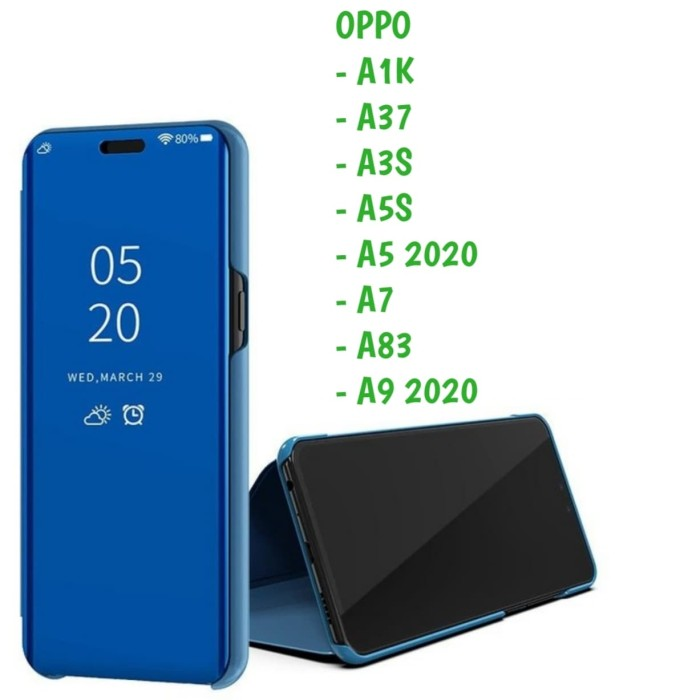 Foto Produk Clear View A1K A37 A5S A9 2020 Oppo Sarung Flip Mirror Cover Standing dari Indo Smart Acc