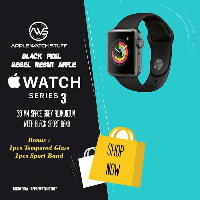 Foto Produk Apple Watch Series 3 GPS 38mm Space Grey Alum with Black Sport Band - FULL PRICE dari applewatchstuff