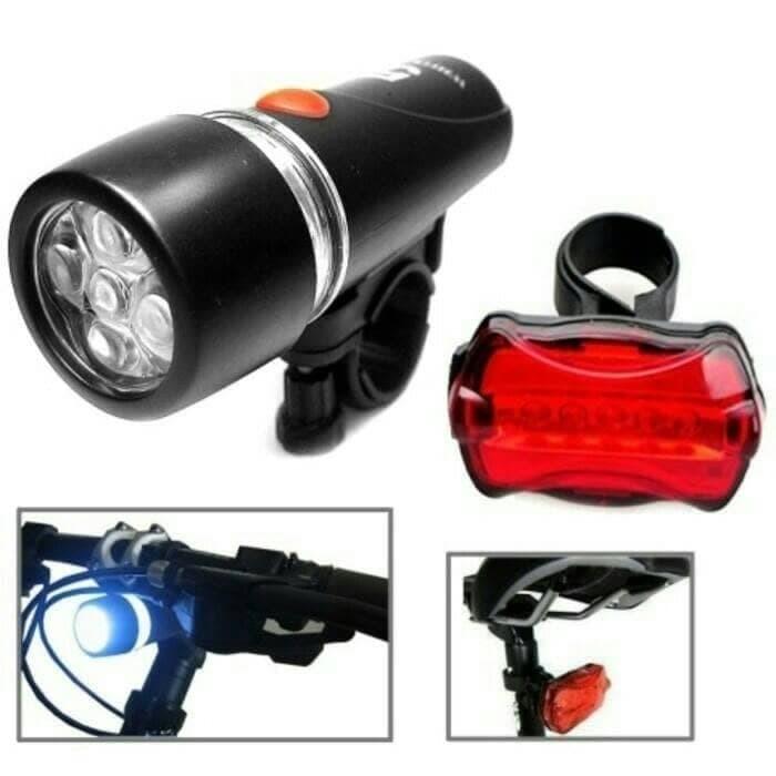 Foto Produk Lampu Sepeda 5 LED Set Paket Depan & Belakang Bike HB618 PowerBeam dari lbagstore