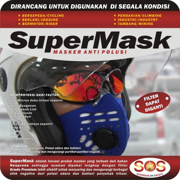 Foto Produk Masker motor virus bakteri Supermask SOS N95 0.3 Micron PM 2.5 ACF - Biru dari lbagstore