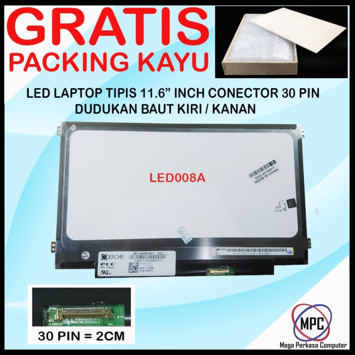 Foto Produk LCD LED Notebook 11.6 Inch Slim Conector 30 Pin Kuping Pinggir dari Mega Perkasa Computer