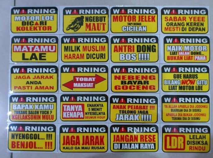 Jual Murah Stiker Motor Kata Kata Lucu Jakarta Pusat Keriyun Shop578 Tokopedia