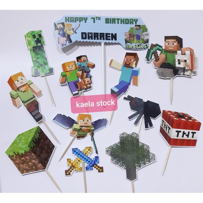 Foto Produk Cake Topper Minecraft 2 / Hiasan Kue Minecraft 2 dari kaela stock