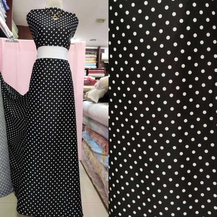 Foto Produk Kain Polka dot Maserati Stretch Lemas untuk dress / blus / bawahan - Hitam dari Toko Moro Joyo