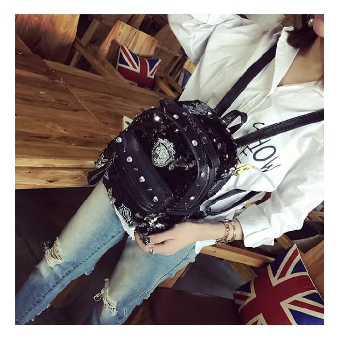 Foto Produk [Terbaru] Tas sequin backpack tas ransel wanita import 2020 trendy - Hitam dari Naufal Galery