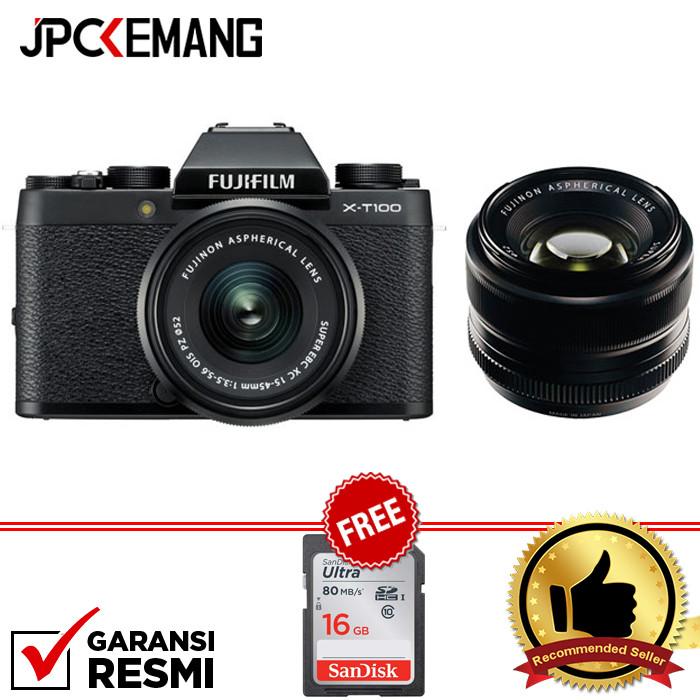Foto Produk Fujifilm XT100 Fuji XT100 KIT 15-45mm with XF 35mm F1.4 GARANSI RESMI - Hitam dari JPCKemang