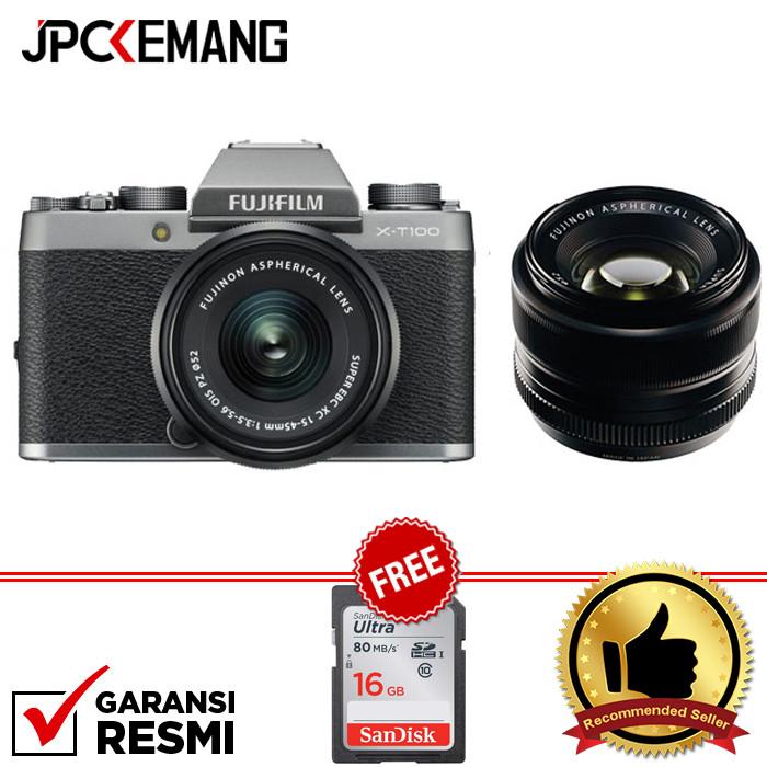 Foto Produk Fujifilm XT100 Fuji XT100 KIT 15-45mm with XF 35mm F1.4 GARANSI RESMI - Abu-abu dari JPCKemang