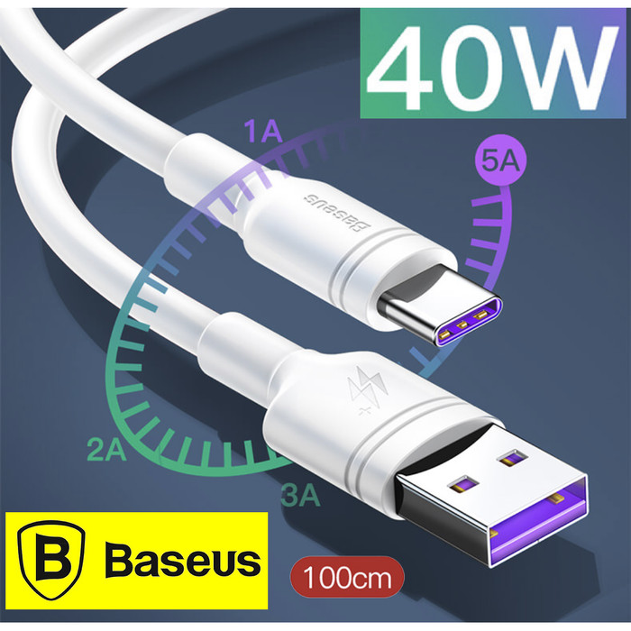 Foto Produk Baseus 5A USB Type C Cable Super Quick Charge for Huawei ,S8+,S9 -1 M dari Berkah 999