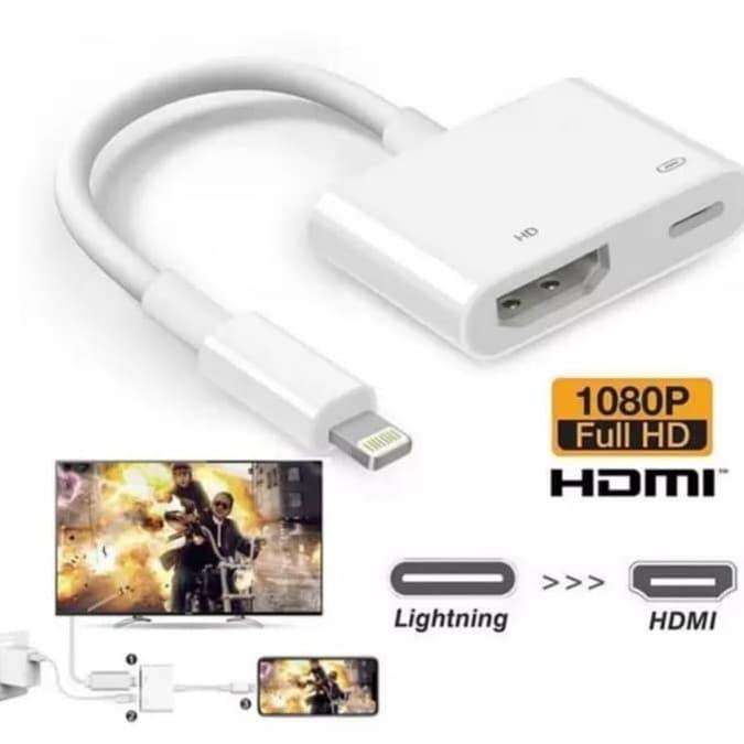 Foto Produk Kabel Converter Lightning to HDMI Full HD 1080P for Iphone Ipad ipod - Putih dari Majek Ilak Tech Store