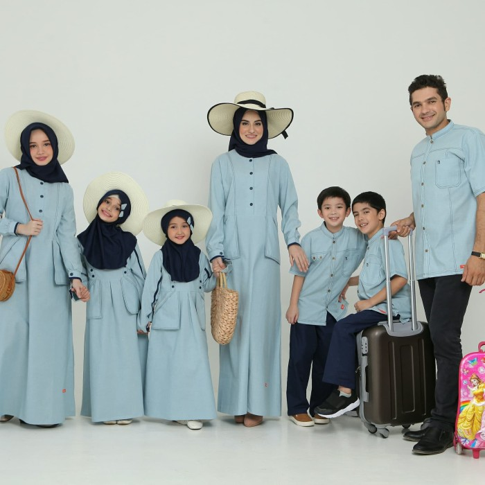 Jual Baju Muslim Sarimbit Keluarga Nibras Family 65 Dusty Blue Lebaran 2020 Kota Tangerang Selatan Melangitstore Tokopedia