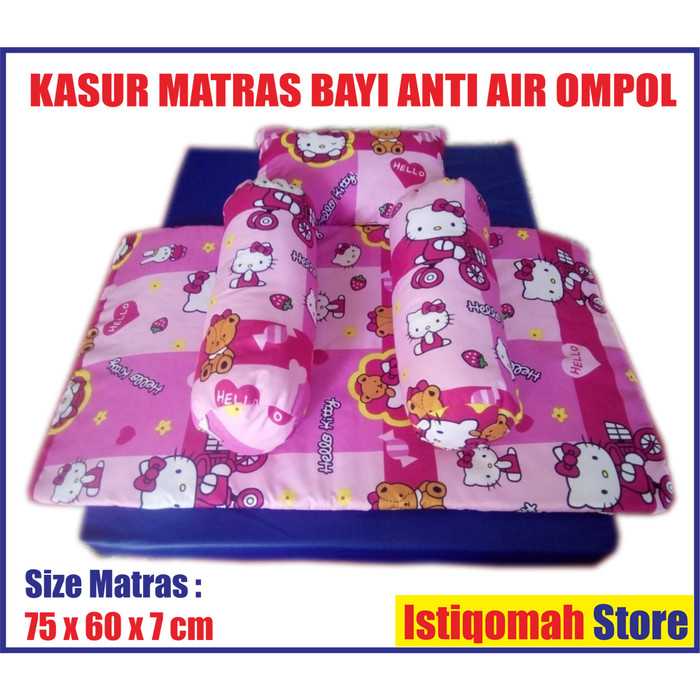 Foto Produk 1 Set Kasur Matras Tidur Bayi Anti Air Ompol Bantal Guling Cover Bed - Putih dari Istiqomah-Store