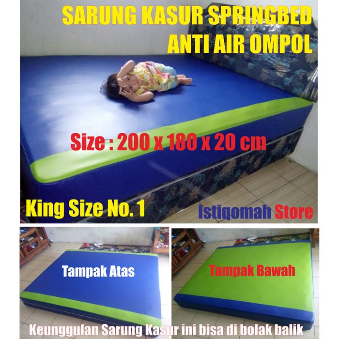 Foto Produk size 200x180x20 cm Sarung Kasur Springbed Anti Air Ompol Solusi Banjir - Biru Hijau dari Istiqomah-Store