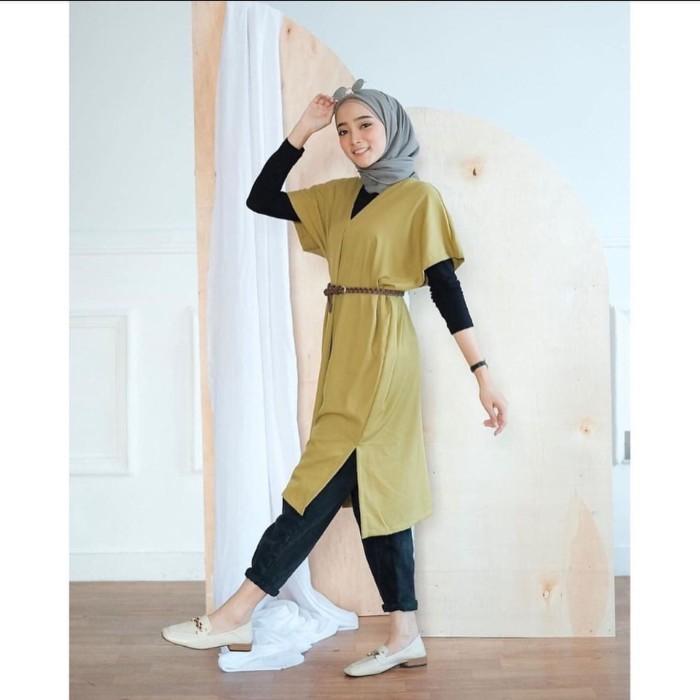 Foto Produk Baju Tunik Atasan Wanita Muslim Terbaru Lidya Tunik FREE BELT Murah dari hijabafwa