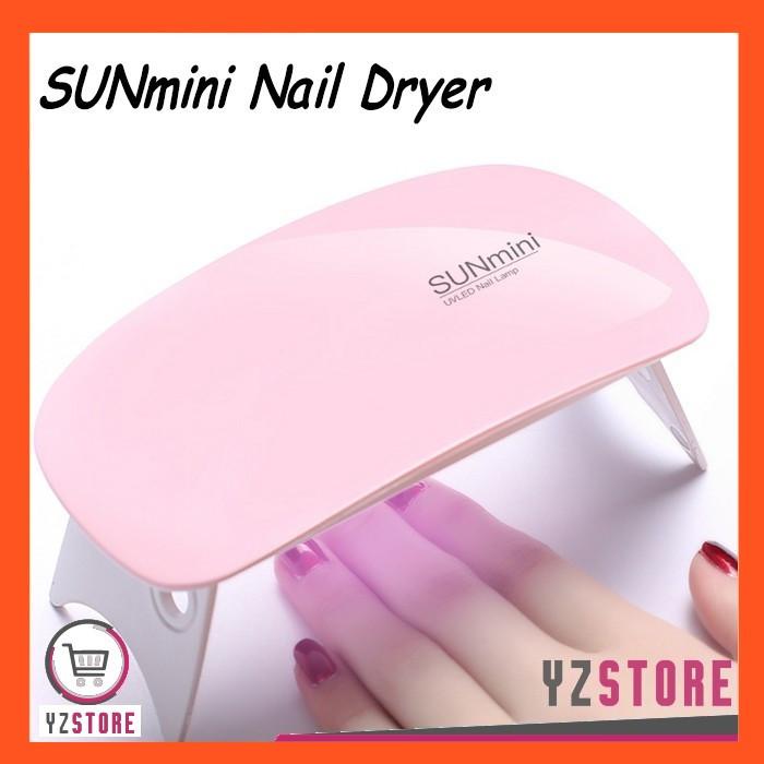 Foto Produk Pengering Kutek kuku Gel SunMini Nail Art Manicure Lampu LED UV Portab - Merah Muda dari Yz Store