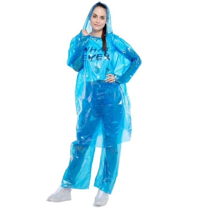 Foto Produk Jas Hujan Plastik LDPE jaket Baju Celana Setelan Disposable Raincoat R dari lbagstore
