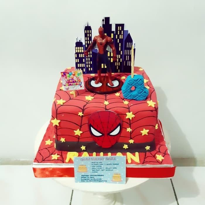 Jual Kue Ulang Tahun Spiderman Super Hero Fondant Cake Jakarta Barat Toko Putri Hana Tokopedia