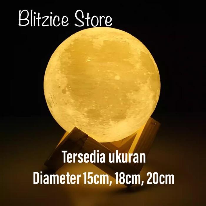 Foto Produk 3D Print Moon Light Touch LED Bedroom Night Lamp Home Decoration - 18 cm dari Blitzice Store