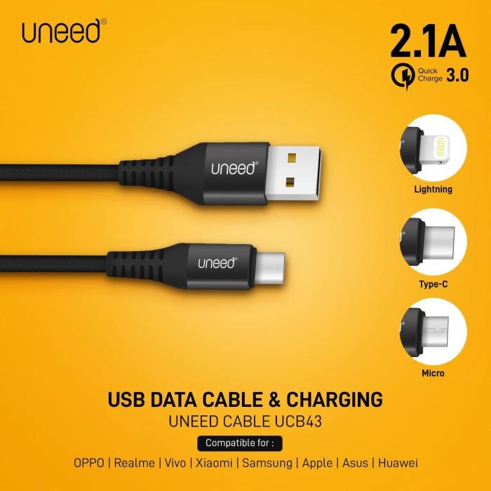 Foto Produk UNEED Nylon Braided Kabel Data Type C, Micro USB, Lightning - UCB43 - Micro USB dari Uneed Indonesia